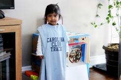 Asha wearing daddy's T-shirt