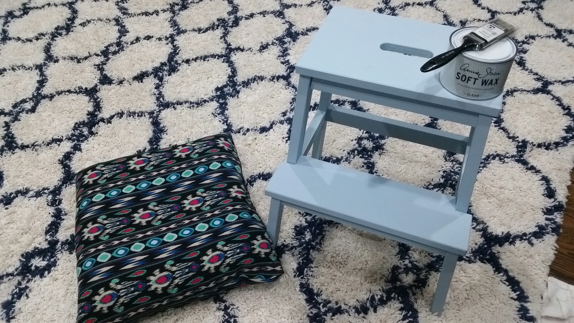 chalk paint step stool and first pillow case