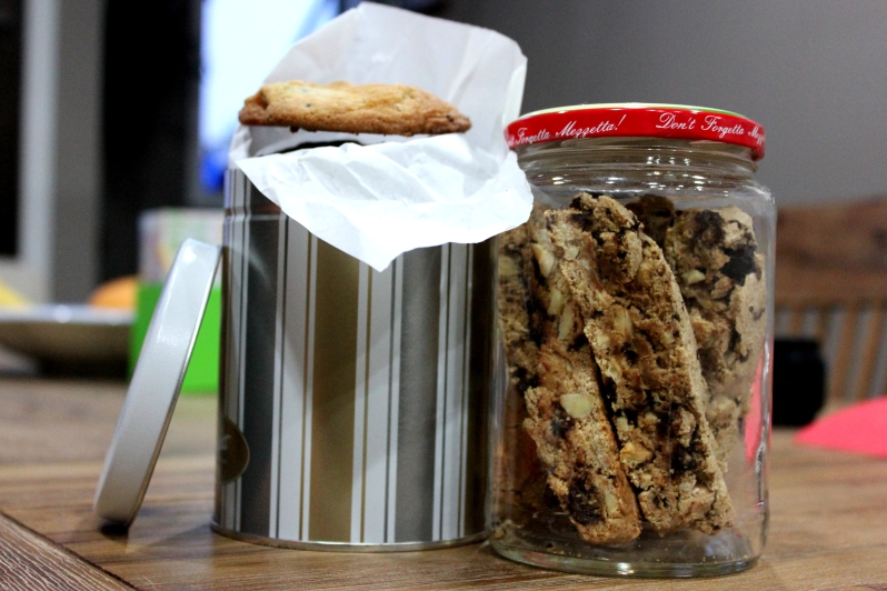 cookie tin and almond biscotti