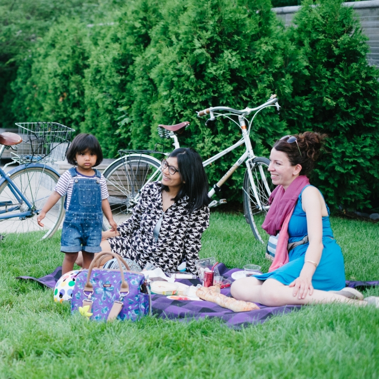 Picture taken by Dottie Brackett of Asha, Chika, Sara at a picnic in Millennium Park