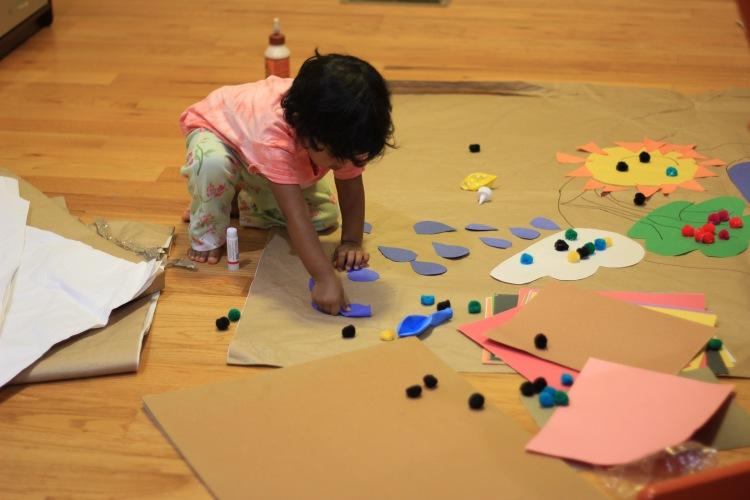 Asha doing arts and crafts at home