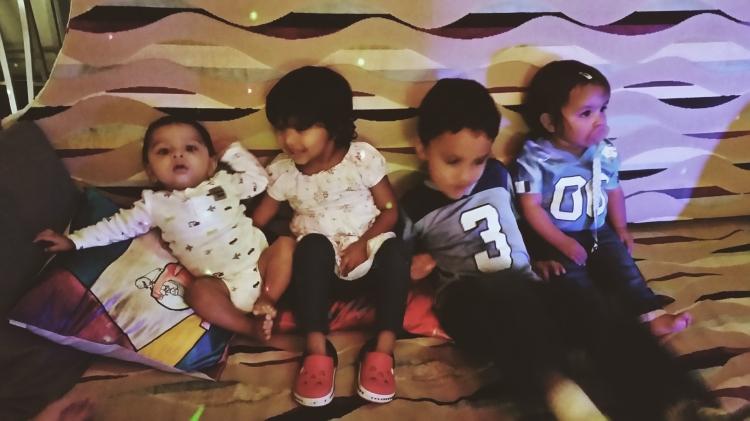 Arjun, Asha, Naveen, Neela. Homecoming weekend 2015