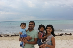 Family shot not he beach in Playa del Carmen, Mexico