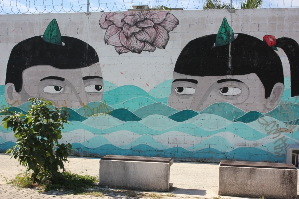 Wall graffiti on 5th Avenue, Playa del Carmen Mexico