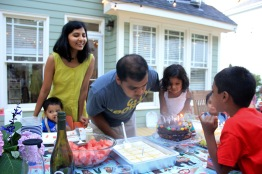 Devang blowing birthday candles